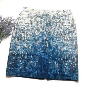 Blue Ann Taylor Watercolor Stripe Pencil Skirt 12